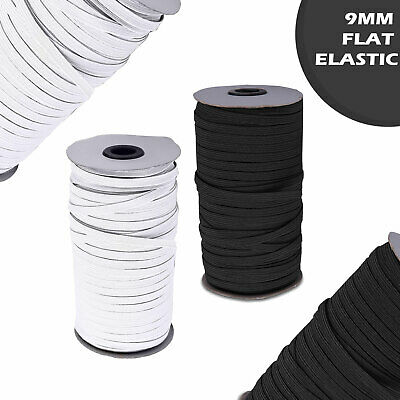 9mm Flat Elastic Cord Woven Sewing Straps Stretchy Waistbands Lingerie Trim Work