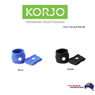 2 Pair Korjo Anti-Nausea Travel Wrist Bands Sea Plane Car Sickness Wristbands