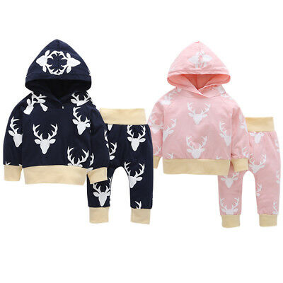 Deer Toddler Kids Baby Girl Hoodie Tops +Pants Leggings 2Pcs Outfits Set Clothes