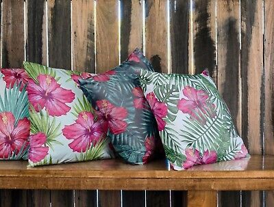 Pink Red Green Floral Tropical Palm Leaf Cushion Indoor / Outdoor 4 Style Pillow