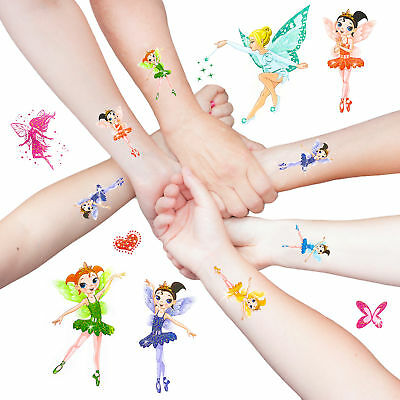 Elfen Engelchen Ballerina Fee Sticker temporäre Tattoos Glitzer Effekt - Kinder