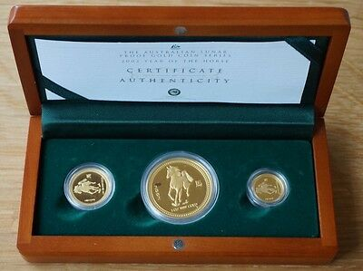 2002 Chinese Lunar Series Year Of The Horse - 3 Gold Coin Proof Issue