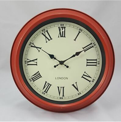 Retro Vintage Style London Metal Wall Clock Red With Cream Face Dial
