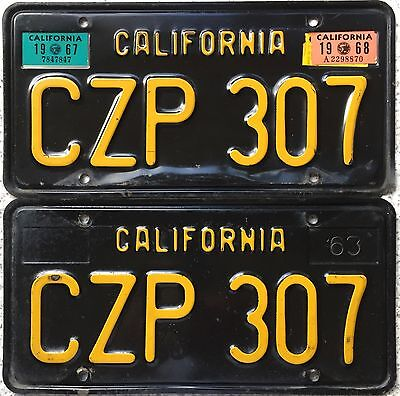GENUINE Pair 1963 YOM (DMV Clear) California Black License Number Plate CZP 307