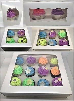 PREMIUM Windowed Cupcake Boxes for 1, 2, 4, 6 & 12 Cup Cakes & Inserts 24 Hr Del