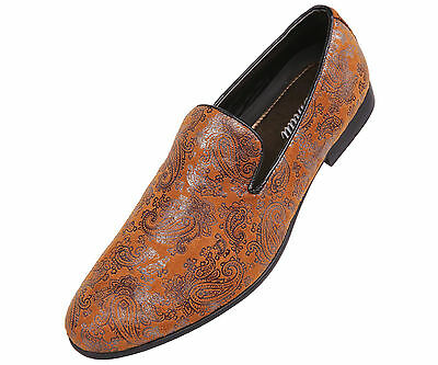 Amali Mens Cognac Paisley Printed Chinese Slipper Style Slip On : Vega-215