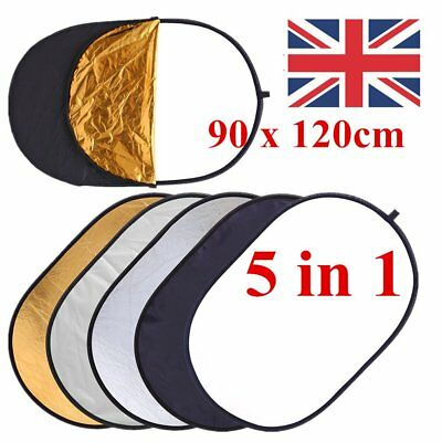 5in1 90x120cm Light Diffuser Collapsible Reflector Disc W Carrying Bag UK Stock