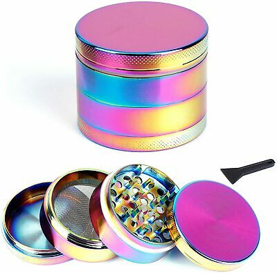 Rainbow 50mm 4 layers Hand Crank Herb Crusher Grinder Pollinator Magnetic Shark
