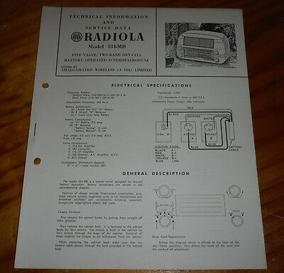 Technical & Service Data for AWA Radiola Model 534-MB 1951 ( vintage radio )