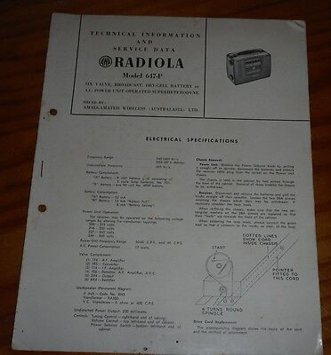 Technical & Service Data for AWA Radiola Model 647-P 1953 vintage radio