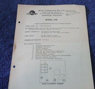 Astor Portable Valve Radio Model PR Technical Bulletin 1951