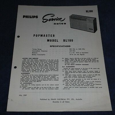 Service Data for Philips Transistor Popmaster Radio model RL180 1969 brochure