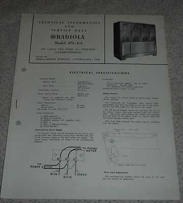 Technical & Service Data Brochure AWA Radio / Record Player 674-GA radiogram