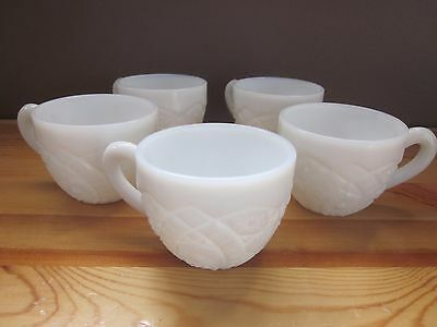Vintage Textured Milk Glass Tea / Coffee Cups - Set of Five