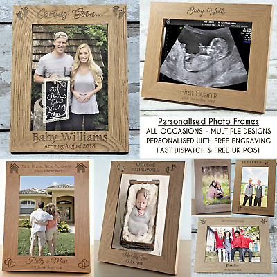 "Personalised Photo Frame Gift All Occasions ENGRAVED 5""x7"" Family Baby Keepsake"