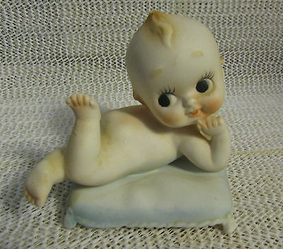 "Vintage Napco.. 3.5"" H Porcelain Bisque Baby Figurine On Pillow"