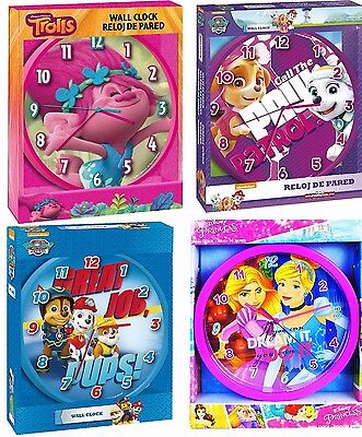 Childrens Wall Clock Trolls Clock Paw Patrol Clock Princess Clock Official