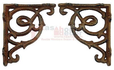 2 Small Ornate Shelf Brackets Cast Iron Brace Antique Style Scrolls 4.5 x 3.75""