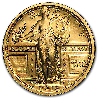 2016-W 1/4 oz Gold Standing Liberty Quarter Centennial with OGP