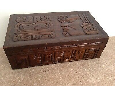 Tribal Vintage Wood Carved Mexican Box 1920
