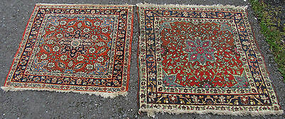 MATCHED PAIR ANTIQUE country house SHABBY CHIC PERSIAN VERAMIN SEATING MAT RUG