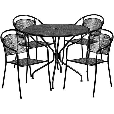 35.25'' Round Black Indoor-Outdoor Patio Restaurant Table Set w/4 Metal Chairs