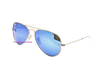 RAY-BAN RB 3025 112/17 Gold Blue Flash 62MM Aviators Sunglasses NWT AUTH