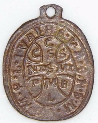 Medieval St. Benedict Shield Bronze Holy Medal c.1600 Patron Exorcism Protection