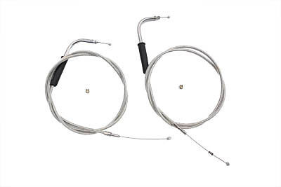 """46-1/4"""" Stainless Steel Throttle and Idle Cable Set for Harley Evo TC M8"""