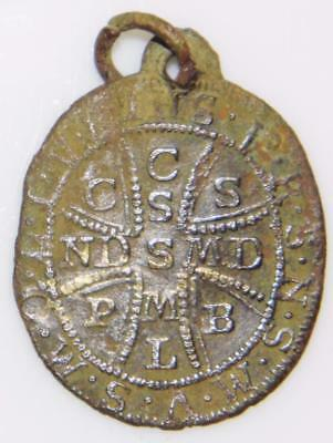 Medieval St. Benedict Shield Bronze Holy Medal c.1700 Patron Exorcism Protection