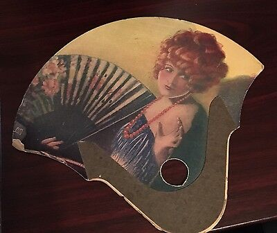 STUNNING VINTAGE FLAPPER  PINUP ADVERTISING HAND FAN 1930s