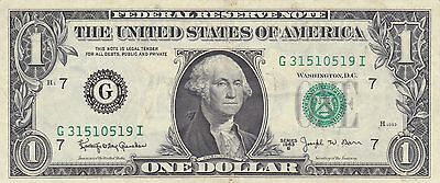 1963-B G/H BARR CHICAGO $1 Federal Reserve Note One Dollar Bill circulated