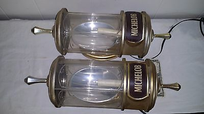 Pair Vintage Man Cave Michelob Light Beer Crystal Lamps Wall Sconce Lights Sign