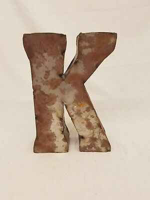 "12"" K Block Letter Vintage Marquee Recycled Metal Tin Industrial Salvage Rustic"