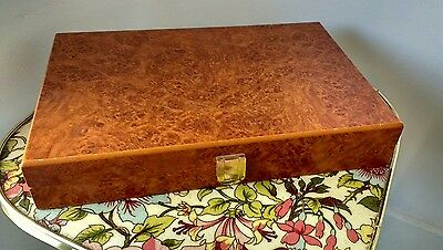 Vintage Beautiful Slim Display Case Brown Cabinet Gold Clasp Vgc Fast Free P&p