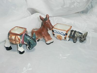 Lot Of 3 Vintage Porcelain Donkey Burro Figurines Planters 2 Are Occupied Japan