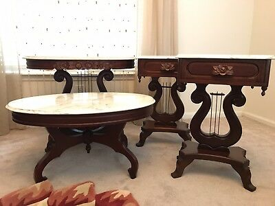 4 Antique Victorian Marble Tables early 60's