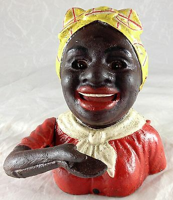 Black Americana Lady With Red Dress Mechanical Cast Iron Bank Signed John Harper