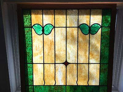 Antique Leaded Stained Glass Window Framed Large 28.5 Inches Square Beautiful