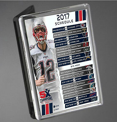 New England Patriots 2017 Schedule NFL Tom Brady JUMBO SIZE Fridge Magnet