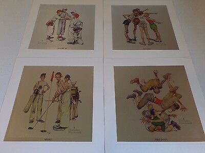 The Four Seasons in Sports - Norman Rockwell - Foil Craft Prints - Lot of 4