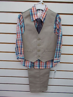 Toddler Boys IZOD $50 4pc Khaki & Plaid Vest Suit Size 3T