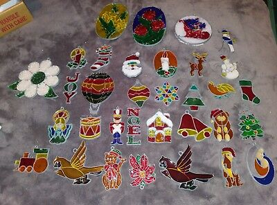 Large Lot(33) of Vintage Stained Glass Style Sun Catcher Christmas Ornaments. 21