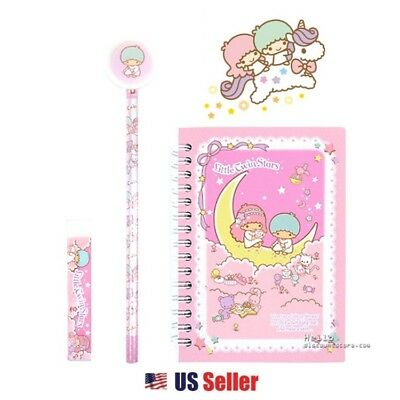 Sanrio Little Twin Stars Spiral Notebook, Pencil & Eraser School Supply Set 3pcs