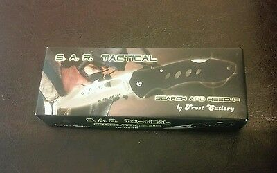 New In Box Frost Cutlery S.A.R. Tactical Black Lock Back Knife Closed 4 1/2""