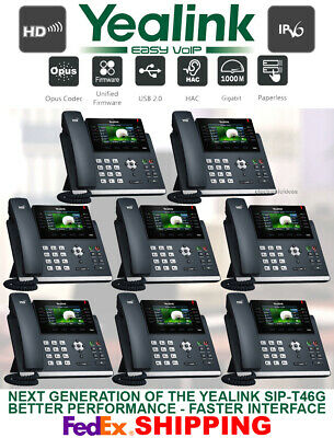 Yealink Sip-T46S Gigabit Ip Voip Phone System-Color Display-16-Line-8 Telephones