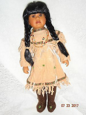 """16"""" PORCELAIN DOLL- NATIVE AMERICAN with White Bird, 1995 ADELCO Int'l Ltd."""