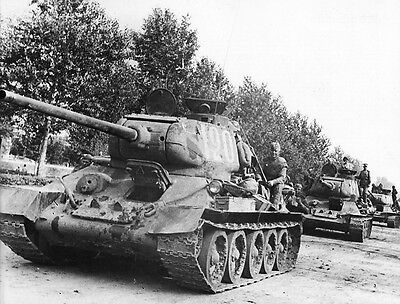 WW2 Photo T-34 Tank Column with Infantry WWII Russia Germany World War Two