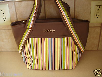 Longaberger Summertime Stripe Insulated Lunch Tote Bag * Nip Free Shipping