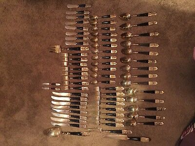 S. SAMRAN THAILAND FLATWARE VTG BRONZE NICKEL GOLD TONE ASIAN SIAM LOT of 72